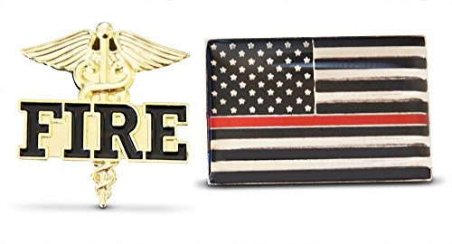 2-Piece Thin Red Line Flag & Fire Fighter Lapel or Hat Pin & Tie Tack Set with Clutch Back by Novel Merk -