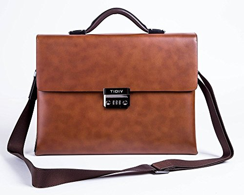 TIDIV Luxurious Genuine Cow Leather Men's Coded Lock Briefcase Laptop Messenger Bag by TIDIV