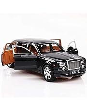 AMERTEER Alloy Car Model 1:24 Car Model For Rolls-Royce Phantom Car Model Boy Toy Diecast Sound Light Toy Six Open Door Toy Car Model Black