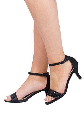 Diamante Women's Embellished Heeled Sandals Gold Low Heel Shoes Party Crystal Black gmxfVO3