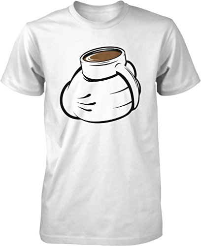 Cartoon Hand with Coffee Mug, Love My Coffee Men's T-shirt, NOFO Clothing Co. L White (Senseo White Coffee Maker compare prices)