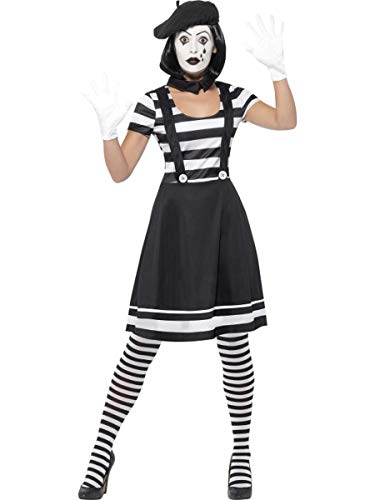 Fest Threads 6 PC French Mime Striped Suspender Dress w/Accessories + Make Up Party (Mime Artist Fancy Dress Costume)