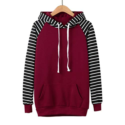 URIBAKE Women Striped Hooded Long Sleeve Casual Print Hoodie Sweatshirt Pullover (Hooded Striped Rugby)