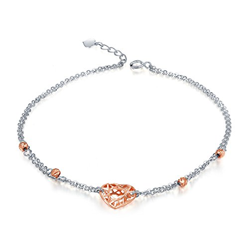 (MaBelle 14K Rose and White Gold Diamond-Cut Filigree Hollow Heart and Beads Anklet (9.25
