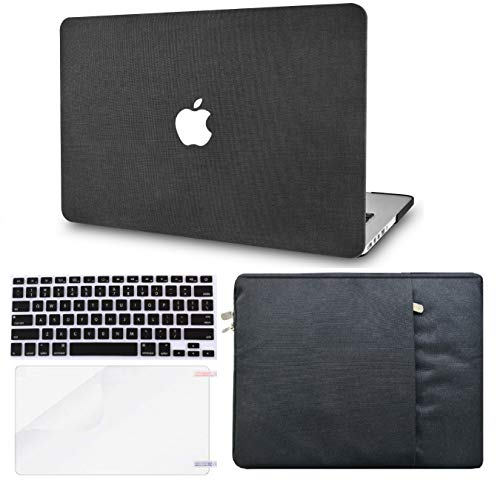 """KECC Laptop Case for Old MacBook Pro 13"""" Retina (2015-) w/Keyboard Cover + Sleeve + Screen Protector (4 in 1 Bundle) Plastic Hard Shell Case A1502/A1425 (Black Fabric)"""