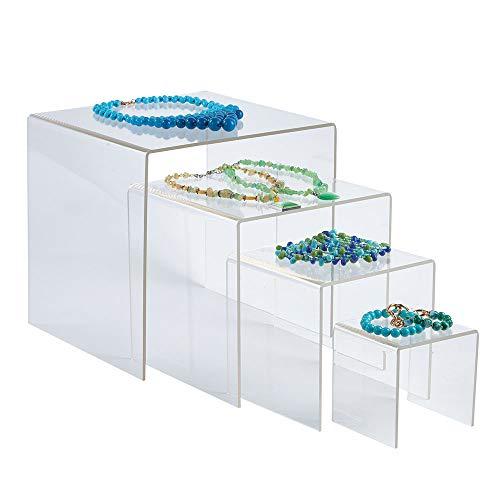 SSWBasics 4, 6, 8, 10 inch Square Nesting Clear Acrylic Display (4 Risers) ()