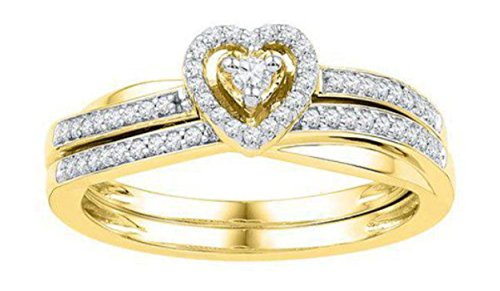 0.25 cttw 10k Yellow Gold Diamond Heart Bridal Ring Set (Sizes 3-11)