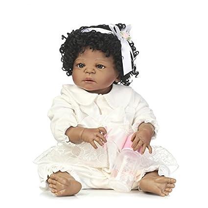 c74c3c6ab Amazon.com: MaiDe 22 inch Black Cute Newborn Baby Doll Girl (Silicone Full  Body, Waterproof) Reborn Dolls African American Doll: Toys & Games