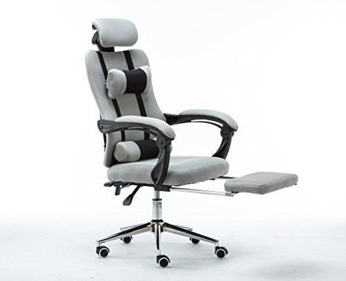 Clearance Emall Life High Back Ergonomic Mesh Swivel Office Chair with Footrest Multi-positions Flexible and Adjustable Desk Chair Grey (High Back Rattan Chairs)