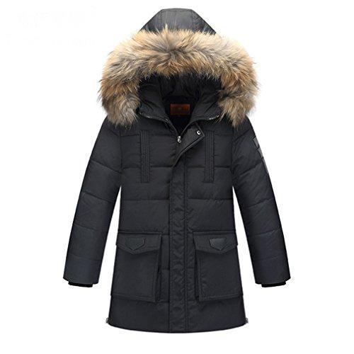 OMSLIFE Kinder Daunenjacke mit Kapuze Jungen Wintermantel Mantel Trenchcoat Oberbekleidung Winter Kleidung (Höhe 130-140cm (Etikett 150), Schwarz)