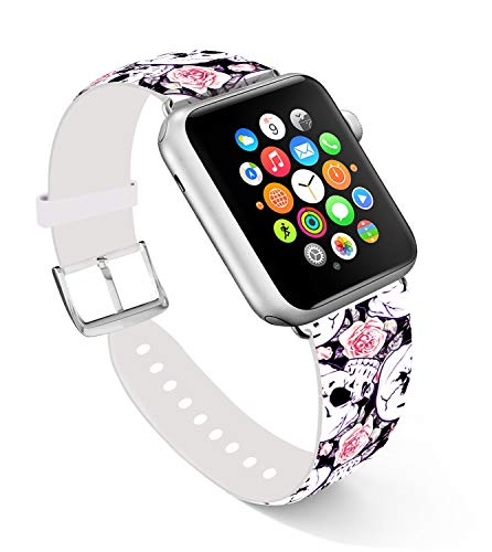 Skull Bands for Apple Watch 38mm,Ecute Replacement Band Leather Iwatch Strap Compatible with Iwatch 40mm/38mm Series 4/Series 3/Series 2/Series 1/Edition/Sport - White Skulls and Rose
