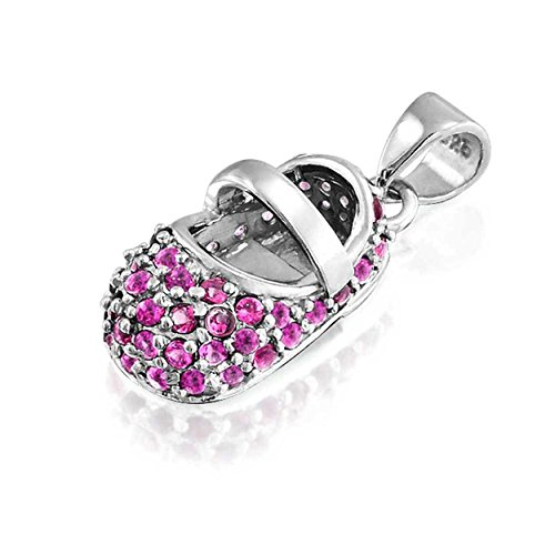 Bling Jewelry Simulated Ruby Baby Shoe Sterling Silver Pendant