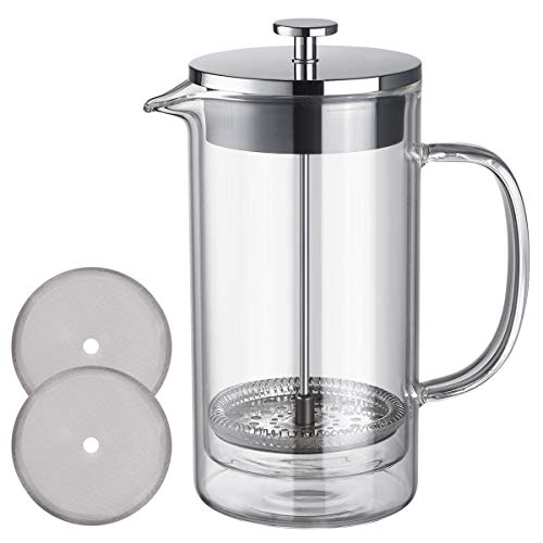 French Press Coffee Maker Tea Pot Double Wall Borosilicate Glass 304 Stainless Steel Clear Coffee Press 600 ml 20 oz…