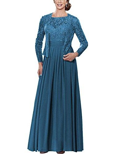 Perles De Cdress Longue En Mousseline Mère Des Robes De Mariée Avec La Veste En Dentelle Manches Longues Robes Formelles Ink_blue