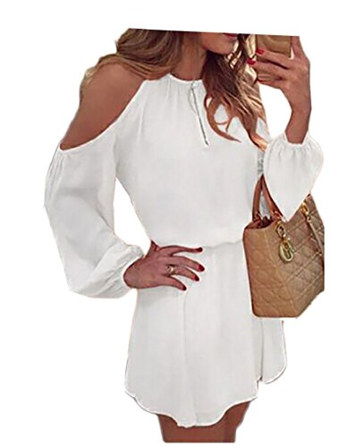White Cut Pure Flared Out Sleeve Colour Shoulder Long Women Dress Chiffon Coolred z5XwFqPxn