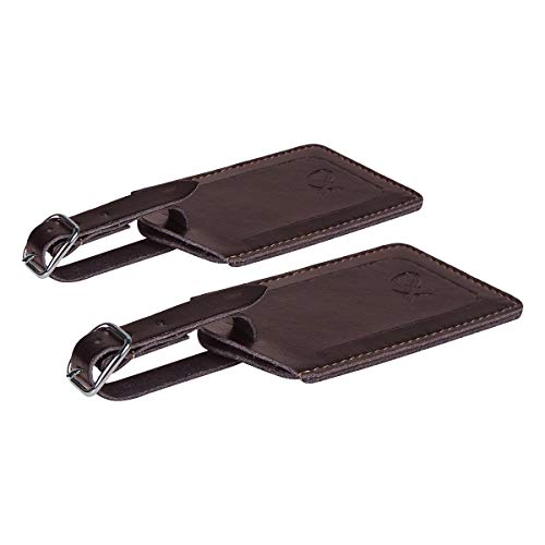 SwissElite Genuine Leather Luggage Tags & Bag Tags 2 pieces Set in 5 Color (Coffee)