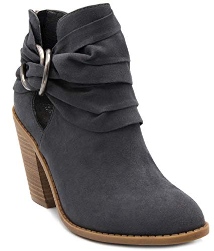 Sugar Women's Victory Transitional Dress Block Heel Ankle Boot Ladies Slouch Bootie with Open Ankle Grey 10