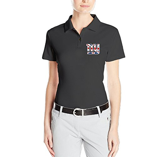 MEGGE Women's New Giants York Stretchy Short Sleeves Classic Pirque Polo Shirt