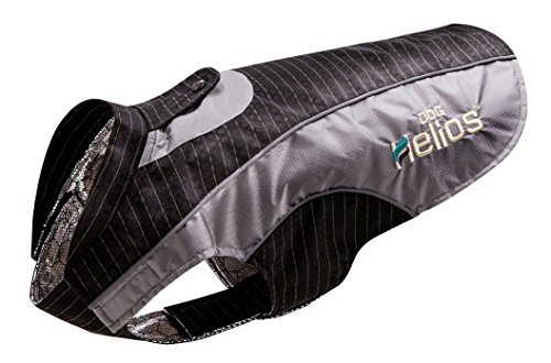 (DOGHELIOS 'Reflecta-Bolt' Sporty Performance Fashion Tri-Velcro Reflective Pet Dog Coat Jacket w/ Body Heat Reflection Technology, X-Large, Black)