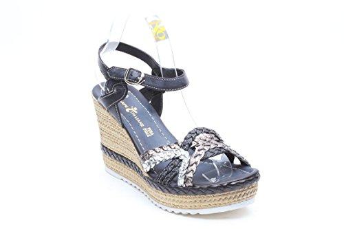 Scarpe italiane sandali a zeppa in pelle nero