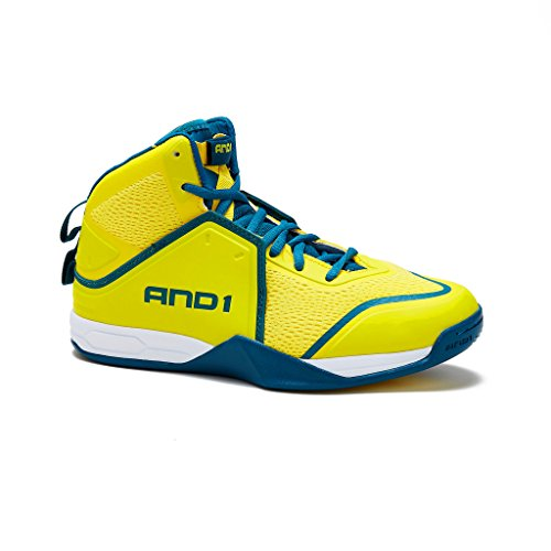 AND1 Mens Havok Basketball Shoe 7.5 Yellow/Teal
