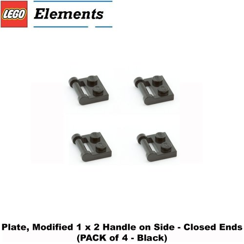 Lego-Parts-Plate-Modified-1-x-2-with-Handle-on-Side-Closed-Ends-PACK-of-4-Black