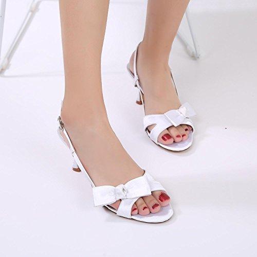 E17061 la de YC Mujeres de Zapatos L Dama Tacones Purple Cintas de Novia 19 Boda de Bajo Satén Toe Honor Peep IdUTTw