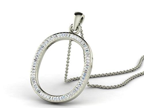 Or Blanc 14 ct Pendentifs Diamant en forme de O alphabet, 0.15 Ct Diamant, GH-SI, 1.11 grammes.