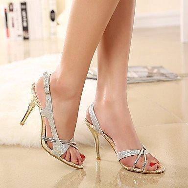 LvYuan Mujer-Tacón Stiletto-Confort Zapatos del club-Sandalias-Boda Vestido Fiesta y Noche-PU-Plata Silver