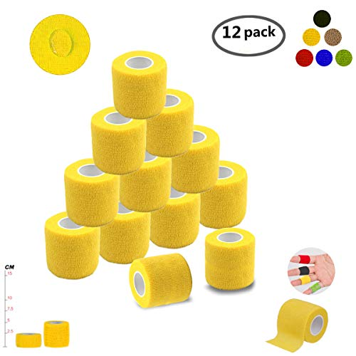 Self Adherent Wrap Tape Medical Cohesive Bandages Flexible Stretch Athletic Strong Elastic First Aid Tape for Sports Sprain Swelling and Soreness on Wrist and Ankle 12 Pack 2Inch X 5Yards(Yellow)