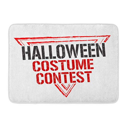 Emvency Bath Mat Dirty Aged Halloween Costume Contest Grunge Rubber Stamp on White Autumn Emblem Bathroom Decor Rug 16