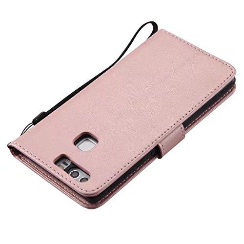 JIALUN-Holster für Huawei HUAWEI P9 Flip Ständer PU Leder + Solft Silikon Tasche mit Wallet Kickstand Funktion Case für HUAWEI P9 Persönlichkeit & Mode ( Color : Red , Size : HUAWEI P9 ) Rosegold