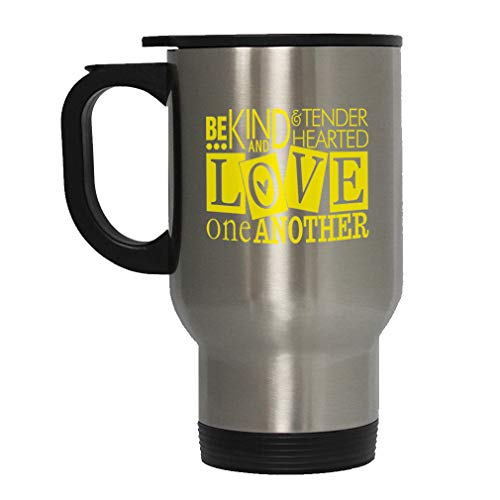 Yellow Be Kind & Tender Hearted Love One Another Steel Travel Mug - Stainless (Be Kind To One Another Tender Hearted)