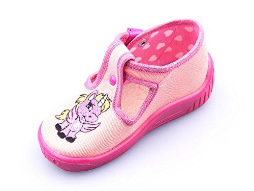 Einhorn Kinder Schuhe Baby Hausschuhe Süße Mädchen Lauflernschuhe Kleinkind Krabbelschuhe Laufen Lernen Laufschuhe Babyschuhe Clip-Verschluss Unicorn Motiv Textil Baumwolle Rosa Pink Größe 19-26
