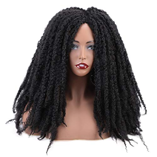 AISI HAIR Long Dreadlock Wig Marley Hair for Twists Wigs for Black Women Synthetic Fiber 16 Inch Black Color