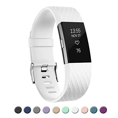(POY Replacement Bands Compatible for Fitbit Charge 2, Special Edition Adjustable Sport Wristbands, Large White)