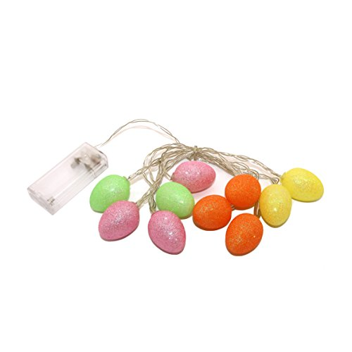 CVHOMEDECO. Colorful Glittered Easter Egg LED String Lights Battery Operated for Easter Ornaments and Holiday Seasonal Décor, 8 ft/10 LEDs from CVHOMEDECO.