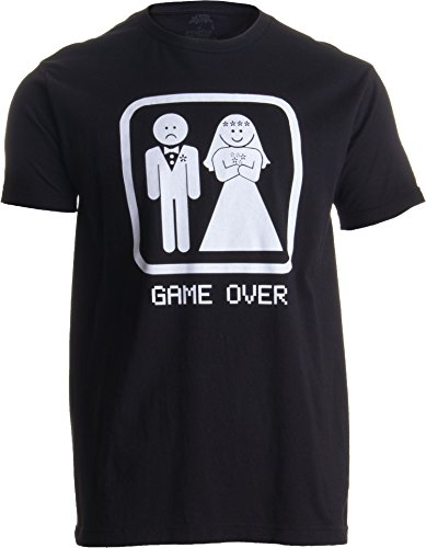 GAME OVER Adult Unisex T-shirt / Groom Gift / Bachelor Party Wedding Funny Tee Shirt,XXL