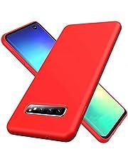 WJMWF Hoesje voor Samsung Galaxy S20 Plus Ultradunne Vloeibare Siliconen Gel Telefoonhoes [Screen Protector] Krasbestendig Shock Proof Anti-Vingerafdruk Beschermhoes-Rood
