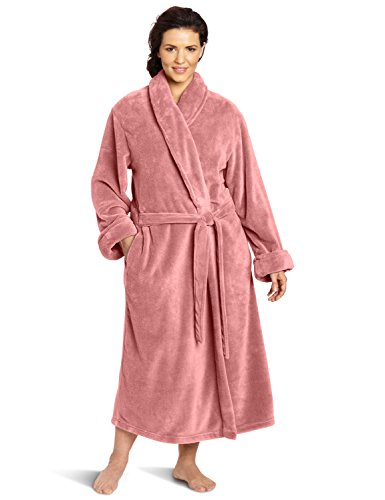 Casual Moments Women's Plus-Size 50 Inch Set-In Belt Robe, Dusty Rose, 2X ()