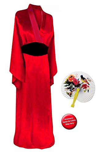 Geisha For Halloween (Solid Red Geisha Robe Plus Size Supersize Halloween Costume Basic Kit 1X-2X)