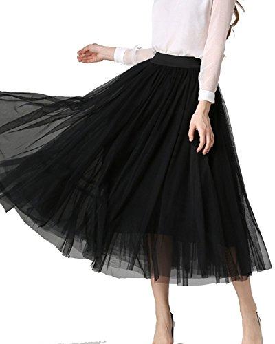 MorySong Women's A Line Short Tea Length Tutu Tulle Overlay Skirt Black