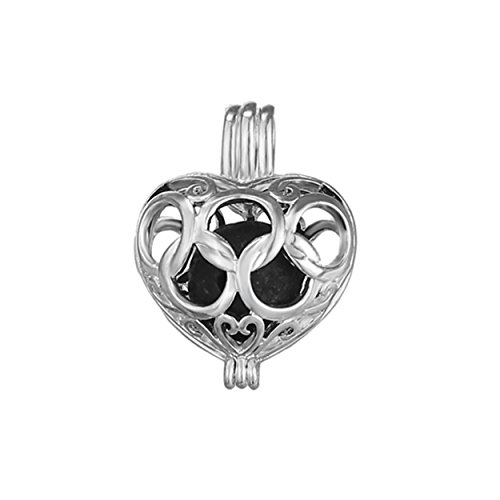 10pcs Hollow Heart Shape Silver Plated Bead Cage Locket Pendant - Add Your Own Stones, Rock to Cage,Add Perfume and Essential Oils to Create a Scent Diffusing Pendant Charms Fit Necklace