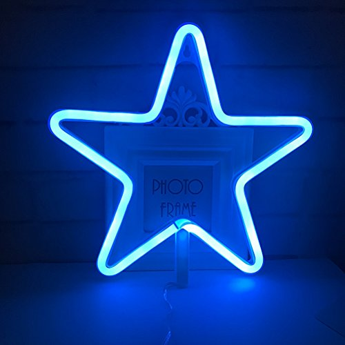 Blue Theme Home/Party Decor Light,Cute Neon Star Sign Shaped Decor Light,Marquee Signs/Wall Decor for Christmas,Birthday Party,Kids Room, Living Room, Wedding Party Decor(Blue) for $<!--$16.95-->