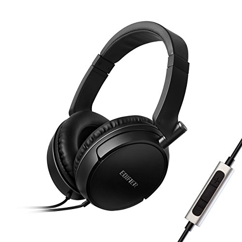 Edifier P841 Over-Ear Headphones, Noise Isolating Wired Headset with Microphone and Volume Controls, Comfortable Earphones, Hi-Fi Deep Bass for iPhone iPad Cellphone MP3 Laptop-Black