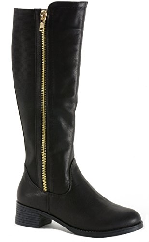 alpine swiss Davos Women's Knee Length Riding Boots Black - Tall Boot Stretch