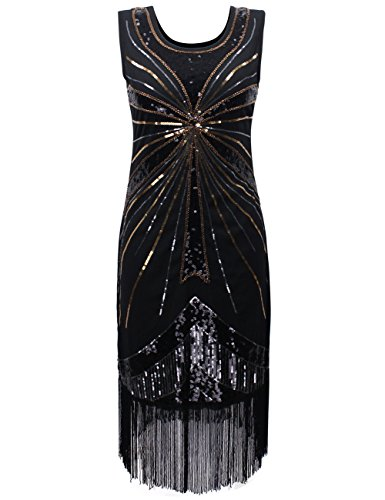 [PrettyGuide Women's 1920s Vintage Sequin Fireworks Fringed Plus Size Flapper Dress XXL Black] (Flappers 1920)