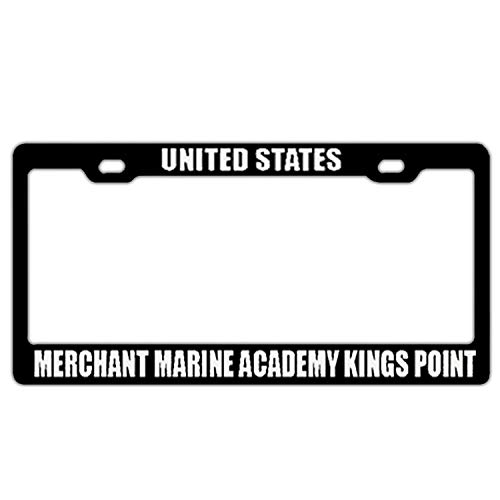 (Crysss License Plate Frame Women/Girl Humor Car Licenses Plate Covers License Tag Aluminum Metal Frame 2 Hole Screws - United States Merchant Marine Academy Kings Point Black)