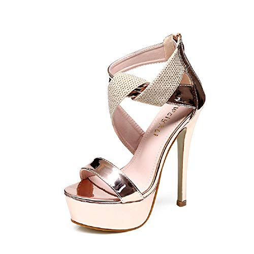 - J Super high-Heeled Model T-Stage Catwalk Sandals Women Fashion Patent Leather Sexy Stiletto Shoes