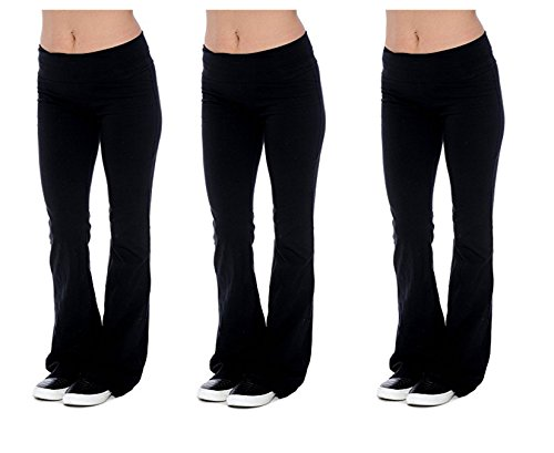 Fold Over Yoga Pants Black - Unique Styles Fold-Over Waistband Stretchy Cotton Blend Yoga Pants (2X, Black/Black/Black)